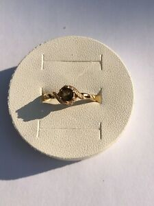 14k 585 Rose Gold Smoky Quartz Ring Size S 1/2 / T