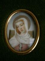 PEINTURE PORTRAIT MINIATURE VIERGE MARIE DECOR St ROMAN CADRE DECO CHRETIEN