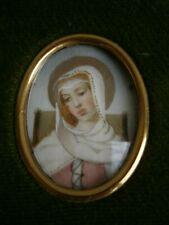 Pittura Ritratto in Miniatura Vergine Maria Decorazione st Roman Cornice Busta