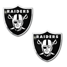 2pc NFL Oakland Raiders 3-D Aluminum Auto Car Truck Color Emblem Made in USA