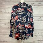 Bit and Bridle Patriotic Flag Horse USA America Long Sleeve Button Up Shirt SZ L