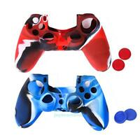 2 Silicone Skin Case Cover Protector & 4 Joystick Caps for Sony PS4 Controller