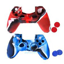 2 Silicone Rubber Gel Skin Grip Case + Thumbstick Cover for Sony PS4 Controller
