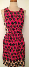 RACHEL ROY Fuchsia Pink Floral Print Racer Back Cut Out Dress Size 10
