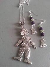 sterling silver chain tibetan silver clown pendant/foot /beads earrings