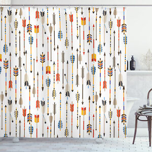Ambesonne Printed Shower Curtain in 3 Sizes Waterproof Fabric Set & Hooks
