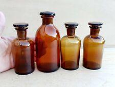 4 Ancien Flacon Pot Verre Ambré avec bouchon Pharmacie Laboratoire Chimie