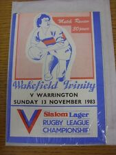 13/11/1983 Rugby League Programmes: Wakefield Trinity V Warrington