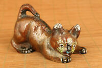 Antique rare chinese old cloisonne hand painting cat statue netsuke collectable