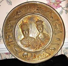 ANTIQUE KING GEORGE QUEEN MARY 1910 SILVER JUBILEE BRASS PLATE; ISSUED 1935