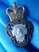 VINTAGE British Legion BROOCH Badge QC BRASS & ENAMEL- Original
