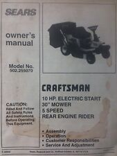 """Sears Craftsman Riding Lawn Mower Tractor 10 h.p 30"""" Owners Manual 502.255070"""
