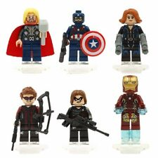 6 Sets Super Heroes Minifigures Hawkeye Thor Iron Winter Soldier Blocks Toys