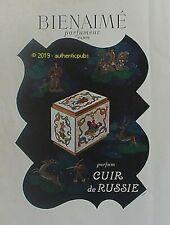 PUBLICITE BIENAIME PARFUM CUIR DE RUSSIE BOITE CHASSE DE 1946 FRENCH AD PUB RARE