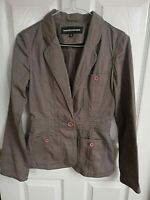 WAREHOUSE WOMENS GREEN KHAKI JACKET SIZE 10 LENGTH 25 INCH PIT TO PIT 17 POCKETS