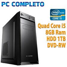 COMPUTER ASSEMBLATO NUOVO PC FISSO DESKTOP QUAD CORE i5 RAM 8GB HD 1TB HDMI WIFI