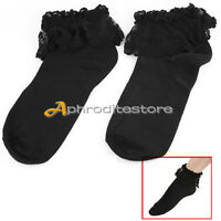 Vintage Cotton Lace Ruffle Frilly Ankle Socks Fashion Ladies Princes Retro Black