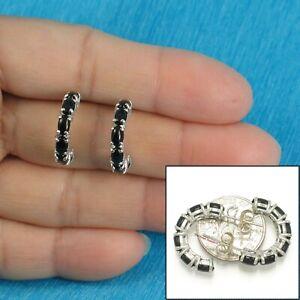 Solid Sterling Silver .925 12 pcs Oval Cabochon Black Onyx C Hoop Earrings-TPJ