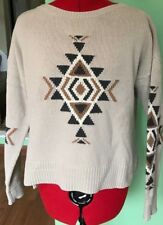 SUNDANCE SWEATER AZTEC NORDIC HIGH LOW SCOOP NECK KNIT BEIGE SIZE M MEDIUM **G