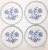 Noritake Susan Sargent Set of 4 Salad Plates Blue Sunrise Blue Floral *EXCELLENT