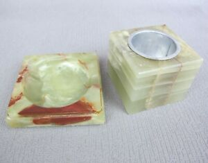 Vintage brown/green onyx marble stone Dish / Pin Tray & Pot / Cotton Bud Holder.
