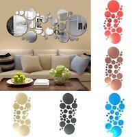 KQ_ TH_ 30pc 3D Circles Mirror Wall Sticker DIY Decal Acrylic Mural Home Decor R