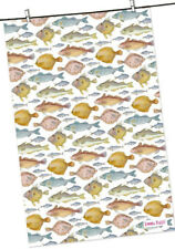 Cotton Kitchen Tea Towel Sea Fish Fishes Emma Ball Made in UK
