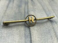 Antique Bar Brooch Edwardian Initial N Letter Monogram Gilt Gold Tone Name Pin