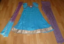 Bn Superbe Turquoise & mauve emroidery Churidar Indien Costume-Taille 8/10