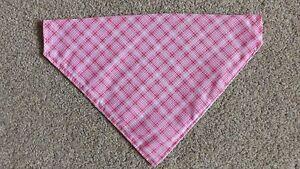 Reversible Pink Check Gingham Large Sized Dog Bandana Scarf Slide on Collar