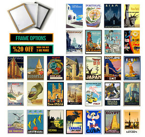 VINTAGE TRAVEL POSTERS, Valentines Day Gift, Wall Art Print  A3 /A4 +FRAMES