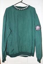 Vintage Greg Norman Golf Pullover Jacket L Green Shark Tooth Collar Flag Patch