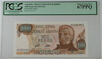 (1976-83) Argentina 1000 Pesos Note SCWPM# 304b PCGS 67 PPQ Superb Gem New