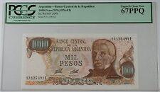 (1976-83) Argentina 1000 Pesos Note SCWPM# 304b PCGS 67 PPQ Superb Gem New