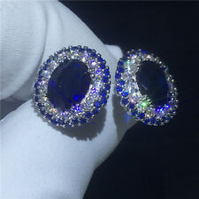 2.20Ct Oval Cut Blue Saphire Simulant Diamond Stud Earrings Silver White Gold FN