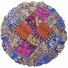 "Blue 18"" Vintage Handmade Round Floor Cover Cotton Ottoman Patchwork Stool Art"