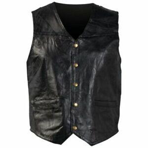 Motorcycle Vest - Black Leather - Man Men - Giovanni Navarre