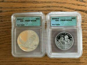2008 Bald Eagle Commemorative Silver Dollar Coin and Clad Half Dollar Coin