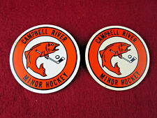 LOT 2 Vintage Campbell River Minor Hockey Pinback Plastic Pin RARE Ice Fishing