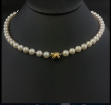 "Tiffany & Co 18K Gold Akoya Pearl Strand Signature X 18"" Necklace w/ Suede Case"