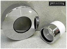 Chrome Waste Pipe 32mm 35mm to Plastic Adaptor Coupling with Chrome Wall Shroud