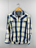 Ted Baker Men's Long Sleeve Button Up Casual Shirt Size 2 Blue White Check