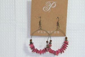 """Plunder Earrings (new) RED BEADED HOOP EARINGS  2.75"""" DROP"""