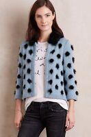 Anthropologie Moth Eyelash Cardigan Sweater Fur Collar Blue Black Dots New