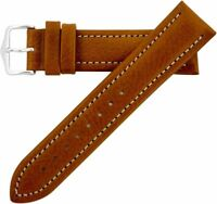 20mm Hirsch Buffalo Mens SHORT Gold Brown Buffalo-Grain Leather Watch Band Strap