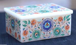 Marvelous White Marble Jewelry Box Micro Inlaid Pietradura Wedding Gifts H1955