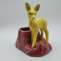 Vintage USA Shawnee Art Pottery Yellow Deer #624 Planter Trinket Dish Art NICE