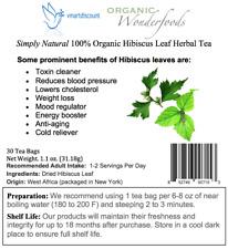 Simply Natural/100% Organic Hibiscus Leaf Herbal Tea (30 Tea Bags)