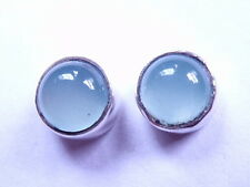 Small Chalcedony 925 Sterling Silver Stud Earrings Round Corona Sun Jewelry