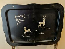 Metal Tv Tray Black With Gold Deer 25 Inch Tall Standing